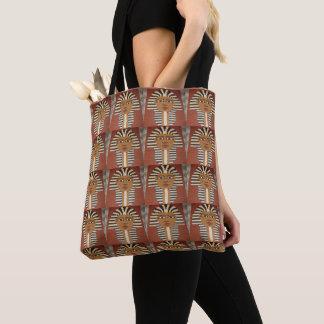 Pharaoh King Black Brown Tan Crochet Print on Tote Bag