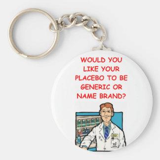 pharmacist basic round button key ring