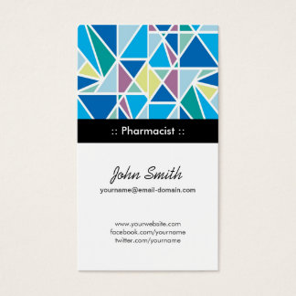 Pharmacist - Blue Abstract Geometry Business Card