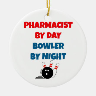 Pharmacist by Day Bowler by Night Round Ceramic Decoration