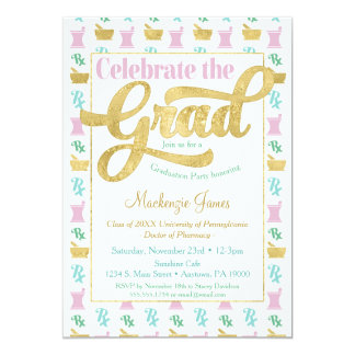 Pharmacist Graduation Party Invitation Pink Gold