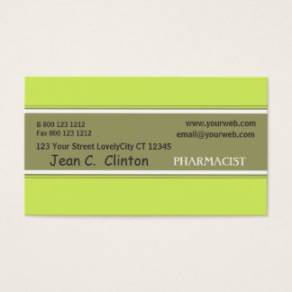 Pharmacist  Green Trendy Tan and Spring Green Business Card