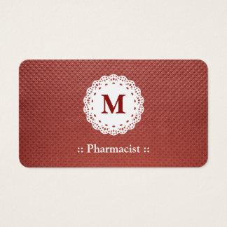 Pharmacist Lace Monogram Maroon Business Card