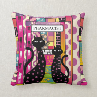 Pharmacist Pillow Whimsical Black Cats