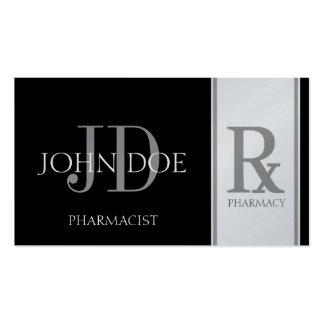 Pharmacist Prescription Pharmacy Black/Platinum Pack Of Standard Business Cards