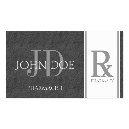 Pharmacist/Prescription Pharmacy Dark Grey Slate Business Card Templates