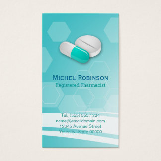 Pharmacist - Simple Elegant Hexagonal Tablet Pills Business Card