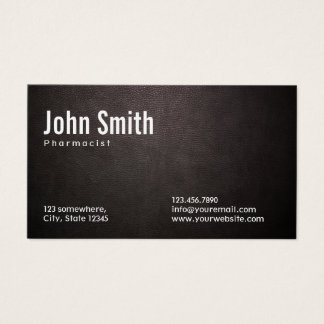 Pharmacist Stylish Dark Leather Business Card