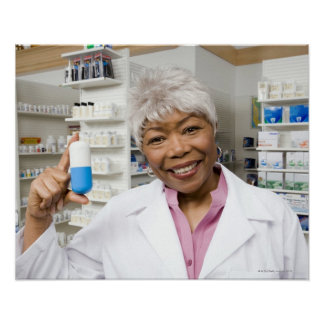 Pharmacist with giant pill poster
