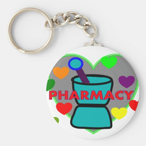 """PHARMACY""  Multi Color Hearts Keychain"