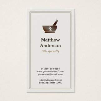Pharmacy Pharmacist Druggist Logo Elegant Classic Business Card