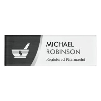 Pharmacy Pharmacist Logo Modern Black Silver Name Tag