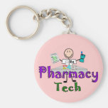 Pharmacy Tech Stick People Design Gifts Keychain