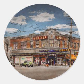 Pharmacy - The corner drugstore 1910 Classic Round Sticker