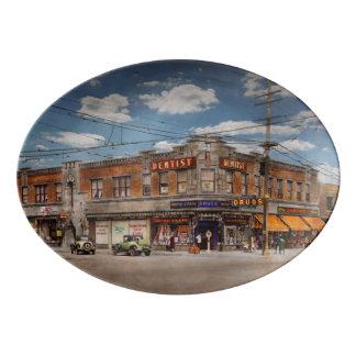 Pharmacy - The corner drugstore 1910 Porcelain Serving Platter
