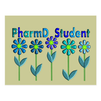 PharmD Student BLUE FLOWERS Postcard