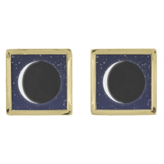 Phases of the Moon, new moon Gold Finish Cufflinks