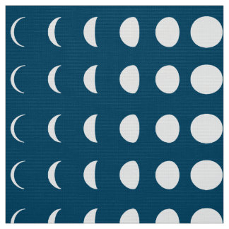 Phases of the Moon on Deep Midnight Blue Fabric