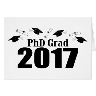 PhD Grad 2017 Caps And Diplomas (Black) Card