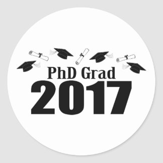 PhD Grad 2017 Caps And Diplomas (Black) Classic Round Sticker