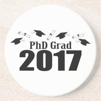 PhD Grad 2017 Caps And Diplomas (Black) Coaster