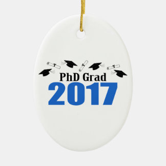 PhD Grad 2017 Caps And Diplomas (Blue) Ceramic Oval Decoration