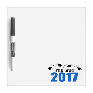 PhD Grad 2017 Caps And Diplomas (Blue) Dry Erase Whiteboards