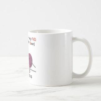 PhD in Knitting Basic White Mug
