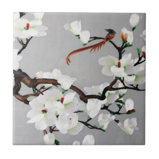 Pheasant and Pear Blossoms Tile