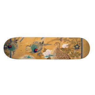 Pheasant Birds Partridge Animal Floral Skateboard