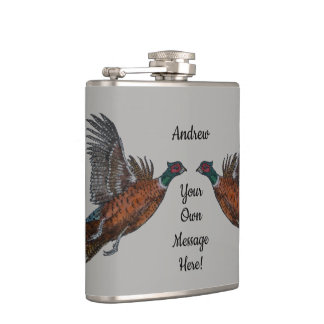 Pheasant in Flight Hip Flask
