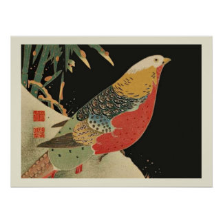 Pheasant in the Snow Japanese Bird Woodcut Poster