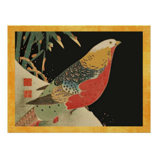 Pheasant in the Snow Vintage Japanese Bird Woodcut Poster
