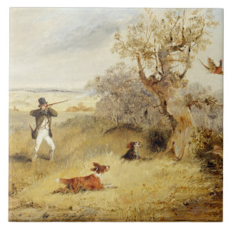 Pheasant Shooting (oil on canvas) 2 Ceramic Tile