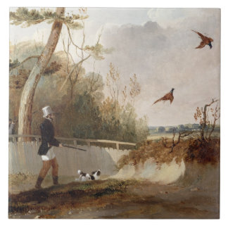 Pheasant Shooting (oil on canvas) Tile