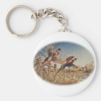 Pheasants Aloft - Great Hunting on the farm Basic Round Button Key Ring