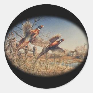 Pheasants Aloft - Great Hunting on the farm Round Sticker