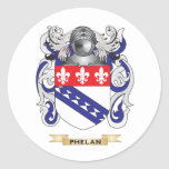 Phelan Coat of Arms (Family Crest) Round Stickers