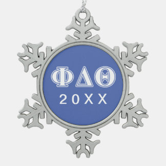 Phi Delta Theta White and Royal Blue Letters Snowflake Pewter Christmas Ornament