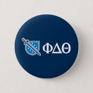 Phi Delta Theta - White Greek Lettters and Logo 2 6 Cm Round Badge