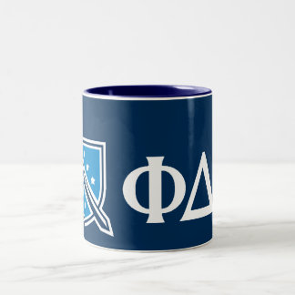 Phi Delta Theta - White Greek Lettters and Logo 2 Two-Tone Coffee Mug