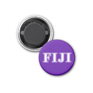 Phi Gamma Delta Whie and Purple Letters 3 Cm Round Magnet