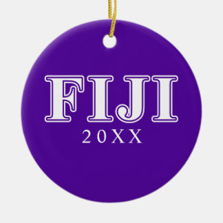 Phi Gamma Delta Whie and Purple Letters Round Ceramic Decoration
