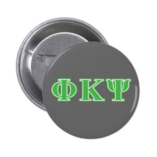Phi Kappa Psi Green Letters 6 Cm Round Badge