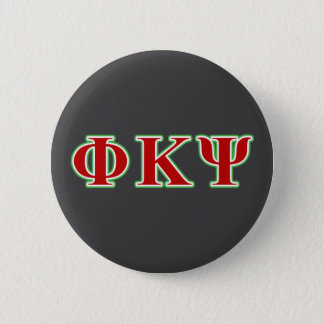 Phi Kappa Psi Red and Green Letters 6 Cm Round Badge