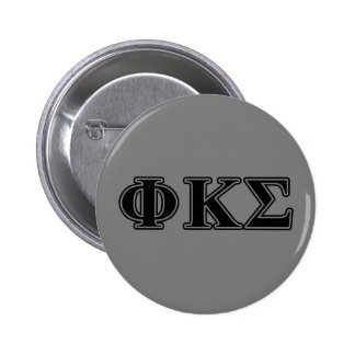 Phi Kappa Sigma Black Letters 2 6 Cm Round Badge