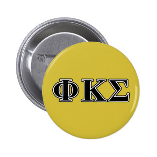 Phi Kappa Sigma Black Letters 6 Cm Round Badge
