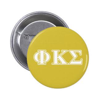 Phi Kappa Sigma White and Gold Letters 6 Cm Round Badge
