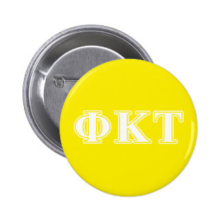 Phi Kappa Tau White and Yellow Letters 6 Cm Round Badge