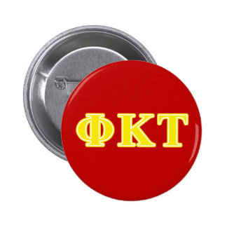 Phi Kappa Tau Yellow Letters 6 Cm Round Badge